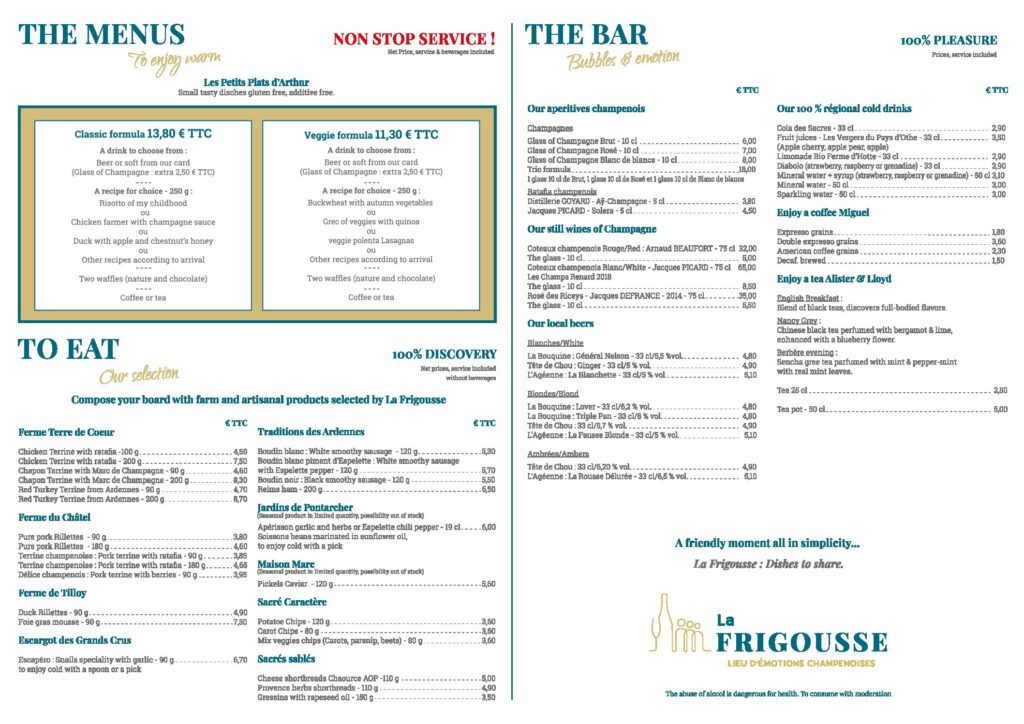 La Frigousse | Lieu d'émotions Champenoises - A new menu! - MENUS A3 ANGLAIS definitif oct.2021 BAT3 pdf - 3